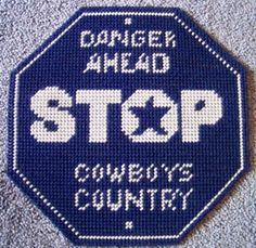 cowboys stop sign plastic canvas pattern