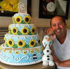 Frozen fever sunflower cake - olaf bite