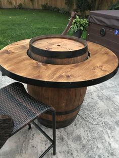 Adorable 49 Awesome Diy Wine Barrel Projects Ideas That You Need To Have Wine Barrel Diy, Wine Barrel Chairs, Whiskey Barrel Table, Wine Barrel Furniture, Wine Barrels, Wine Barrel Fire Pit, Barris, Barrel Projects, Tasting Room