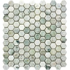 "1″ Hexagon Tumbled Ming Green Mosaic Tile Finish: Tumbled Colors: Variations of Green Sheet Size: 12"" x 12"" Category: Hexagon Mosaic Stone : Marble Applications"
