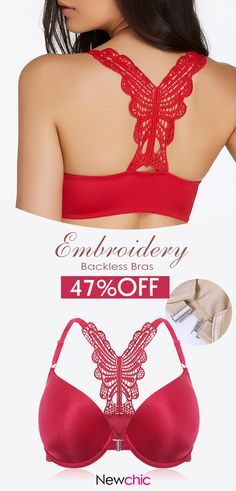 fef0a0f44c89d  US 21.66 Front Closure Metal Fastening Adjustable Push Up Embroidery  Strappy Back Bras