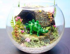 Bebé dinosaurio - Mini jardín Zen - terrario / Diorama