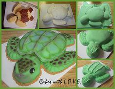 Sea Turtle Cake steps by Cakes with L.O.V.E., via Flickr