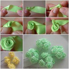 Making Ribbon Roses How to Make Mini Ribbon Roses is part of Ribbon flowers diy - Satin Ribbon Flowers, Fabric Roses, Ribbon Art, Paper Flowers Diy, Ribbon Crafts, Handmade Flowers, Flower Crafts, Ribbon Rosettes, Satin Ribbons
