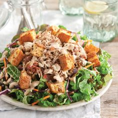 Barbecue Pork Salad with Cheese and Bacon Cornbread Croutons
