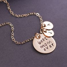 Personalized Mother's Day Gift - Best Mom Ever Necklace by georgiedesigns
