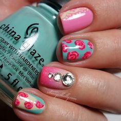 Vintage roses, lace & bling! #nailart