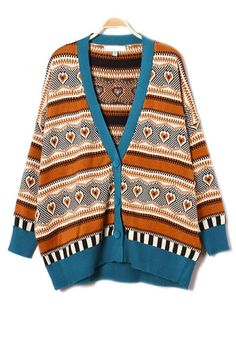 Blue Striped Round Neck Loose Cotton Blend Cardigan