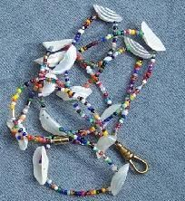 Free USA S - Handcrafted Sea Shell & Multi-Color Badge Lanyard - A JewelryArtistry Original - L74                      $10.98