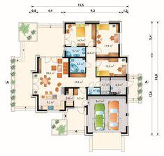 Projekt domu Aurelia Rex - funkcjonalny dom parterowy z garażem na dwa samochody keramzyt - Archeton.pl Building Design, Building A House, Architectural Floor Plans, Duplex House Design, Planer, Sweet Home, Flooring, How To Plan, Architecture