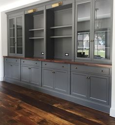 Geppetto Millwork & Doors Ben Moore Kendall Charcoal paint and walnut counter built in Keep Your Pet Built In Shelves Living Room, Built In Bookcase, Office Built Ins, Living Room Grey, Home Office Design, Home Remodeling, Kitchen Remodel, Family Room, New Homes