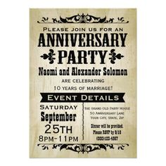 Rustic and vintage western country saloon theme anniversary party invitation is great for an outdoor cookout, barbecue bbq or summertime celebration. Weathered beige grunge background with antique theme decos. Celebrate any sort of anniversary with personalized words.
