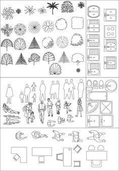IDEARK_CALI Softwares applied to design, engineering and architecture .: Symbology and architectural representation. (blocks in plan, side and front elevation). Architecture Symbols, Landscape Architecture Drawing, Architecture Concept Drawings, Landscape Drawings, Architecture Design, Autocad, Design Autos, Interior Design Sketches, Technical Drawing