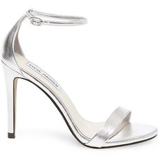 Steve Madden Stecy-M Stilettos Sandals (100 AUD) ❤ liked on Polyvore featuring shoes, sandals, silver, silver stilettos, silver sandals, dress shoes, steve madden shoes and metallic high heel sandals