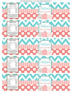 TEAL CORAL water labels  you print  by PrettyPartyCreations, $6.50
