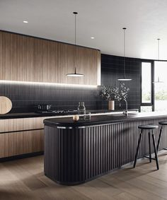 Inspirational ideas about Interior Interior Design and Home Decorating Style for Living Room Bedroom Kitchen and the entire home. Curated selection of home decor products. Elegant Kitchens, Black Kitchens, Beautiful Kitchens, Home Kitchens, Beautiful Interiors, Modern Kitchen Design, Interior Design Kitchen, Kitchen Decor, Küchen Design