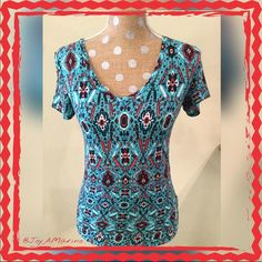"""Top  Super soft light weight Aztec style V neck t-shirt. 15-1/2"""" is the chest measurement at under arm from seam to seam. Looks great with jeans or jean shorts. Mudd Tops Tees - Short Sleeve"""