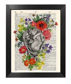 Flowery Embryo Human Anatomy Print, Embryo Flower print, Art print, Illustration print, Dictionary art, Pregnancy Gift [ART 154]
