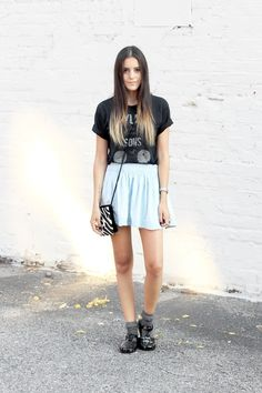 Dress Like Jess: Are You Jelly?  www.dresslikejess.us/2014/07/are-you-jelly.html  Light blue skater skirt, band tee, vintage zebra beaded bag, frilly gray socks + @areyoujealy jelly sandals