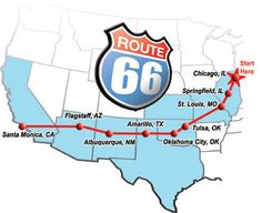 Drive Route 66 all the way from Chicago to Santa Monica Road Trip Music, Route 66 Road Trip, Road Trip Games, Travel Route, Travel Usa, Route 66 Map, Old Route 66, Historic Route 66, Santa Monica