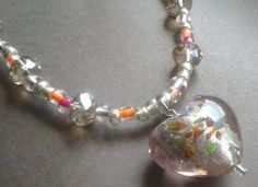Puffy Heart Necklace, all made with glass beads