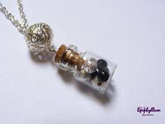 Collier fiole perles noires argentées - pendentif - Epiphyllum - Fait Maison