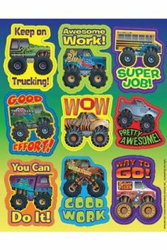 """Monster Trucks Stickers by Eureka. $1.79. Measuring 1 5/16"""" x 1 3/4"""". 36 stickers. Vibrant colors. 9 designs. EU-655206 Use our Theme Stickers to enhance teaching units and reward students! Each sticker measures 1"""" x 1"""". 120 stickers per package, all one design."""