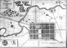 Charta öfver Alingsås 1761 af J. Forssell. Kopparstick. Stadsplaneringsförslag.