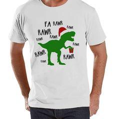 Dinosaur Christmas Shirt - Winter Christmas Tee - Men's Christmas T-Shirt - Men's White T Shirt - Dino T Rex Holiday Shirt - Christmas T Rex