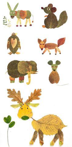 Leaf Animals so Eric Carle esque