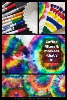 Color Mixing on Coffee Filters – The Kitchen Table Classroom - Spring Crafts For Kids Coffee Filter Art, Coffee Filter Crafts, Coffee Filter Flowers, Spring Crafts For Kids, Summer Crafts, Projects For Kids, Art For Kids, Toddler Art Projects, Kid Art