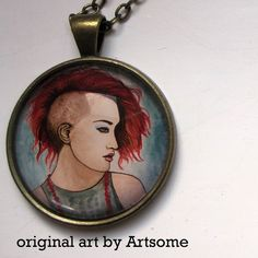 Graphic original art painting pendant on chain - punk girl brass pendant painting girl Watercolor, Illustration, Drawings, Painting, Art, Original Art, Original Art Painting