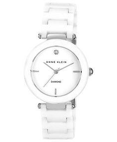 08d13ca054065 Anne Klein Women s Diamond Accent White Ceramic Bracelet Watch 33mm  AK-1019WTWT Jewelry   Watches - Watches - Macy s