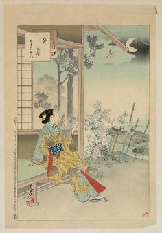 Title: Uzuki. Title Translation: The fourth month. Creator: Mizuno, Toshikata, 1866-1908. Date Published: 1892. Medium: 1 print: woodcut, color. Summary: Print shows a woman sitting at the opening to a building, enjoying the evening by moonlight.