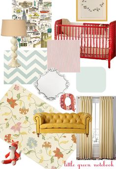 color board for nursery. love the chevron swatch. yellow couch from anthropologie. jenny lind crib. and poster