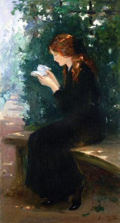 Woman Reading a Book (1910). Laura Muntz Lyall (Canadian, 1860-1930). Oil on canvas.