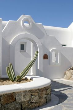 GREECE CHANNEL   White architecture - Mykonos---I like the geometric shape of the building