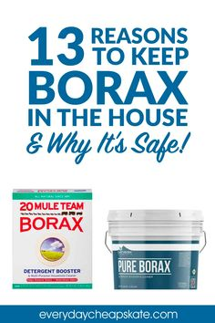 Borax's chemical name is sodium tetraborate. Sodium tetraborate is a salt compound from boric acid, but it is not an acid. It is a salt that is found naturally in evaporation lakes. Do not use borax for skincare or topical use. It is really for cleaning only. And remember this: More is not better. You only need a small amount of borax to get any number of jobs done: clean carpet, steam clean, garbage disposal, unclogging drains, and more! #borax #cleaning Borax Cleaning, Steam Cleaning, House Cleaning Tips, Diy Cleaning Products, Cleaning Hacks, Cleaning Carpets, Bathroom Cleaning, Cleaning Supplies