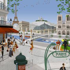 Paris Illustration, Travel Illustration, Illustrations, Paris Painting, Around The World In 80 Days, France Art, Street Art, Cafe Art, Paris Art