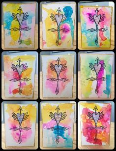 Bulk Mixed Media Watercolor Cards  •  Free tutorial with pictures on how to make a greetings card in under 60 minutes