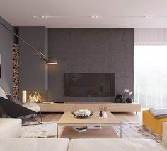 Design salotto scandinavo moderno con muro in cemento colorato che dà un tocco di stile industriale alla casa