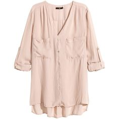 H&M V-neck blouse ($12) ❤ liked on Polyvore featuring tops, blouses, shirts, h&m, powder pink, shirts & blouses, button shirts, pink blouse, pink button shirt and longsleeve shirt