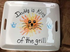 Father's Day Gift- Get a plain platter (big enough for lots of burgers and hot dogs) and personalize to make his own grilling platter
