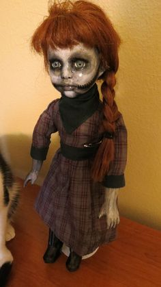 """OOAK Gothic, Zombie, Undead, Vampire, Creepy Hand Painted Porcelain Doll """"Annie"""""""