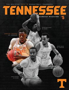 The collectible Tennessee Men's Basketball Yearbook features Armani Moore, Devon Baulkman, Derek Reese and Kevin Punter on its cover and includes information for Volunteers' complete season. Vols Basketball, Go Vols, University Of Tennessee, Tennessee Volunteers, Devon, Athlete, College, Cover, University