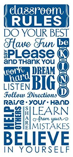 Wall Decor Plus More WDPM3750 Classroom Rules Subway Art Teacher Wall Decals Letters Vinyl Stickers 36 x 15 Traffic Blue >>> Check this awesome product by going to the link at the image. (This is an affiliate link and I receive a commission for the sales)