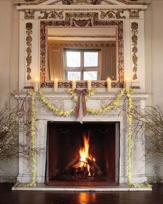 Beautiful fireplace - decorated with Easter lilies