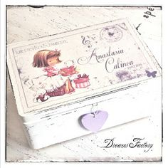 Dreams Factory - Girl with gifts box - Diy Decoupage Box, Girl Gift Baskets, Face Painting Tutorials, Doll Tutorial, Flower Fairies, Diy For Girls, Baby Decor, Painting On Wood, Tole Painting