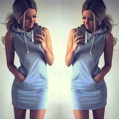 New Fashion Women Sleeveless Hoodies Dress Pockets Casual Women Clothing Package…