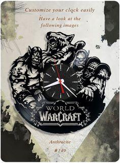 Warcraft vinyl record clock, vinyl wall clock world of warcraft orcs gift 149 #newlifeofvinyl